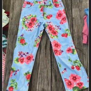 Children's place floral flare bottom jeans